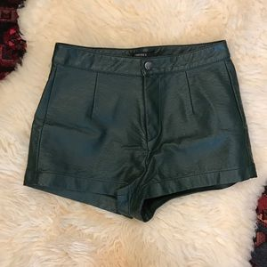 Forest Green Faux Leather Shorts